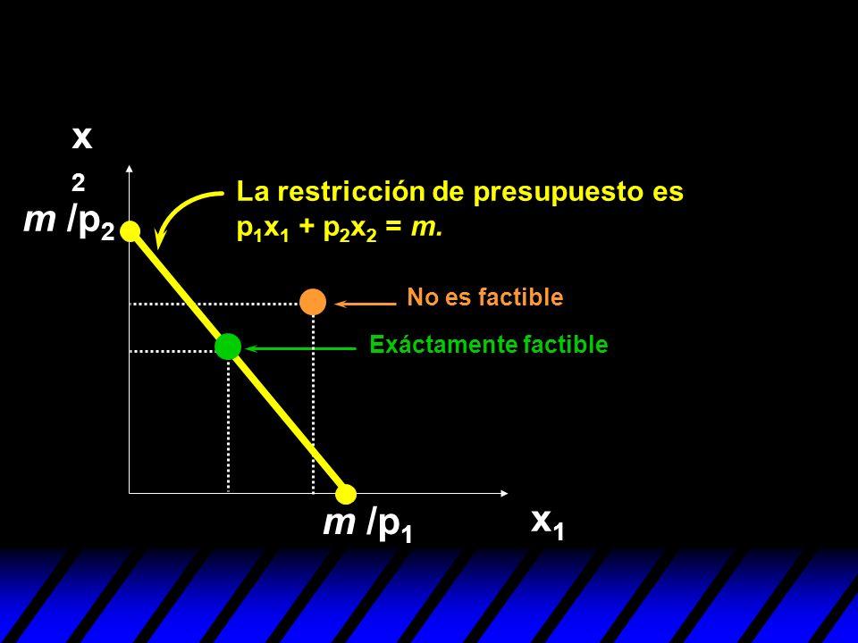 x2x2 x1x1 m /p 1 No es factible m /p 2 La restricción de presupuesto es p 1 x 1 + p 2 x 2 = m. Exáctamente factible