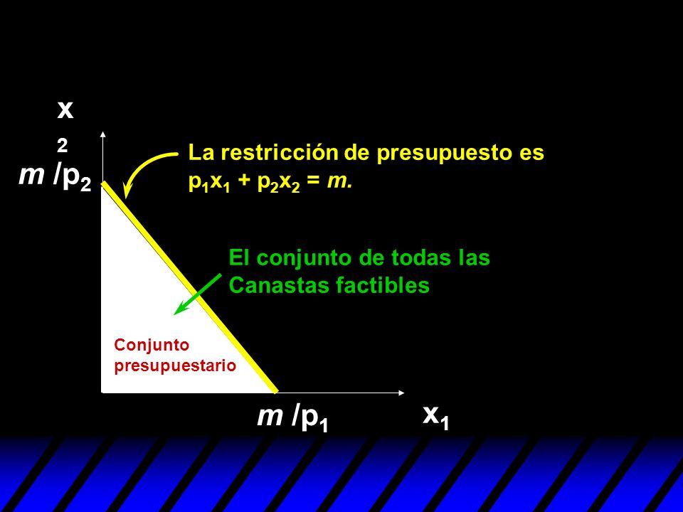 x2x2 x1x1 m /p 1 Conjunto presupuestario El conjunto de todas las Canastas factibles m /p 2 La restricción de presupuesto es p 1 x 1 + p 2 x 2 = m.