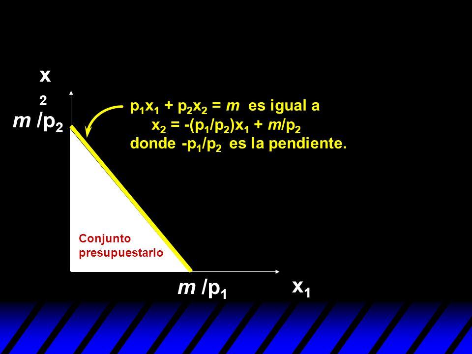 x2x2 x1x1 p 1 x 1 + p 2 x 2 = m es igual a x 2 = -(p 1 /p 2 )x 1 + m/p 2 donde -p 1 /p 2 es la pendiente. m /p 1 m /p 2 Conjunto presupuestario