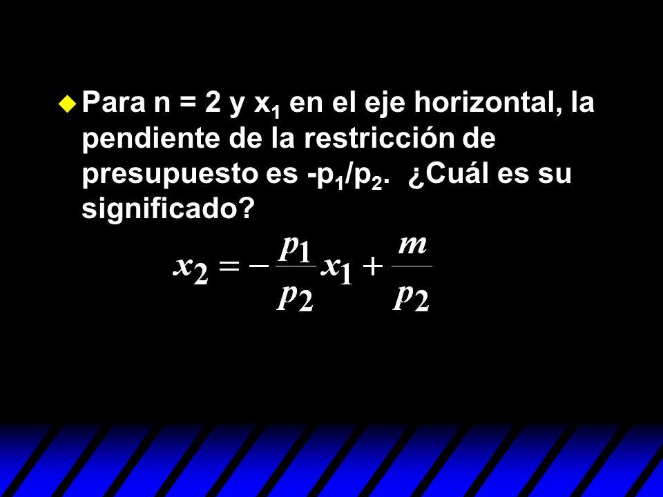 u Para n = 2 y x 1 en el eje horizontal, la pendiente de la restricción de presupuesto es -p 1 /p 2. ¿Cuál es su significado?
