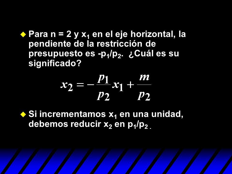 u Si incrementamos x 1 en una unidad, debemos reducir x 2 en p 1 /p 2.