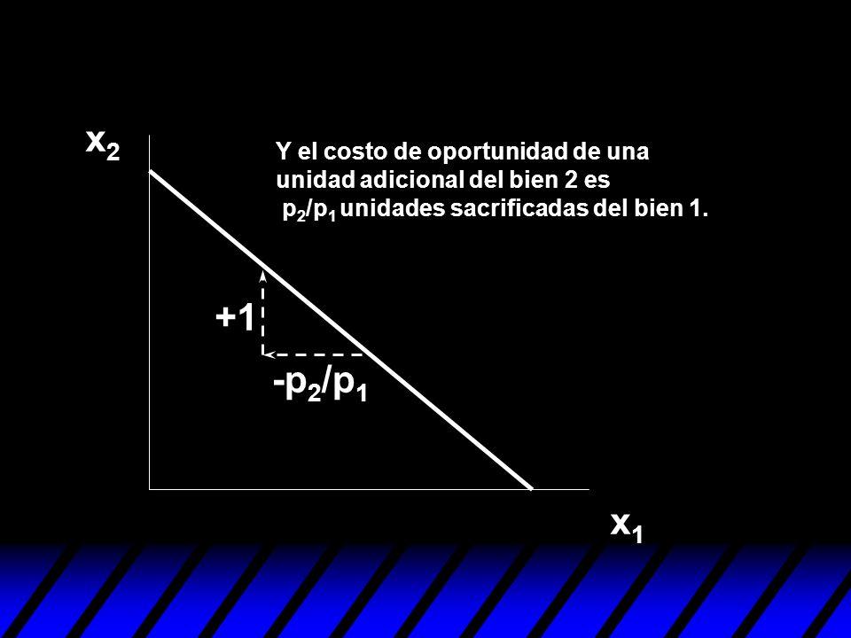 x2x2 x1x1 Y el costo de oportunidad de una unidad adicional del bien 2 es p 2 /p 1 unidades sacrificadas del bien 1. -p 2 /p 1 +1
