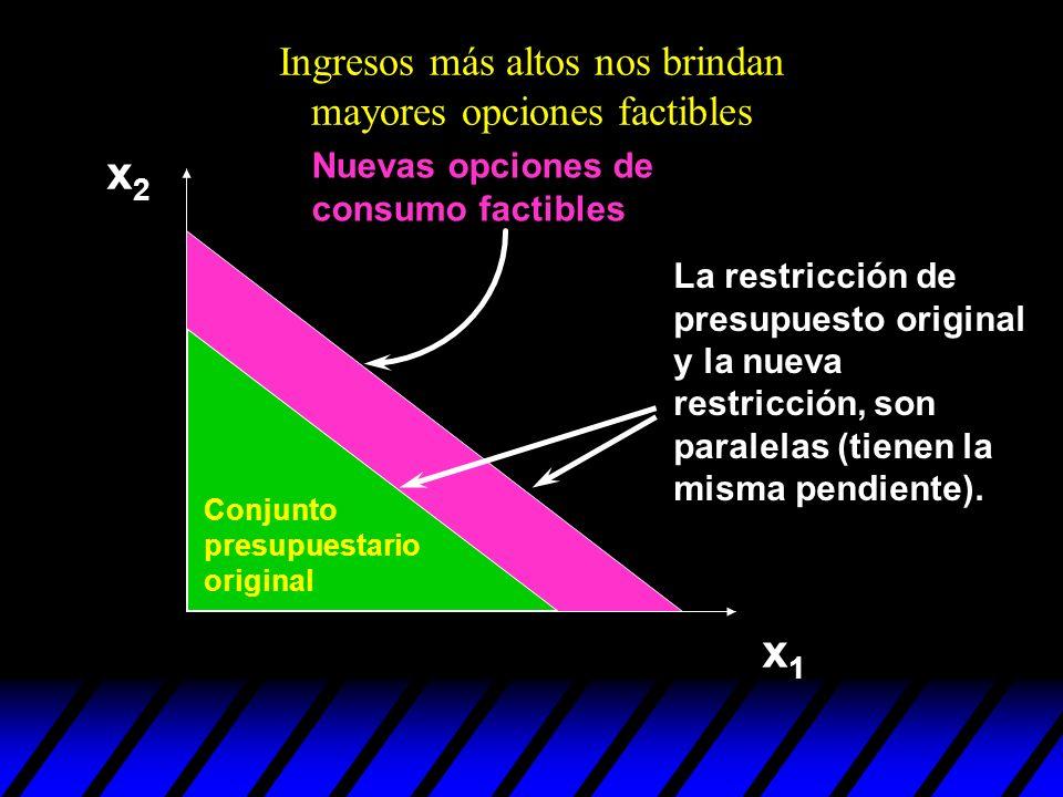 Ingresos más altos nos brindan mayores opciones factibles Nuevas opciones de consumo factibles x2x2 x1x1 La restricción de presupuesto original y la n