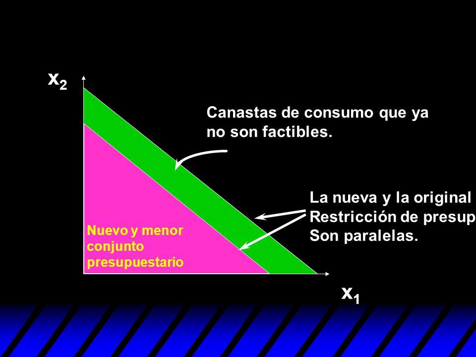 x2x2 x1x1 Nuevo y menor conjunto presupuestario Canastas de consumo que ya no son factibles. La nueva y la original Restricción de presupuesto Son par