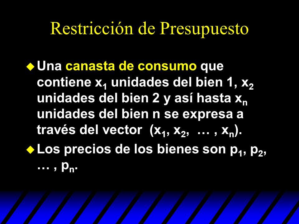 Restricción de Presupuesto u Una canasta de consumo que contiene x 1 unidades del bien 1, x 2 unidades del bien 2 y así hasta x n unidades del bien n