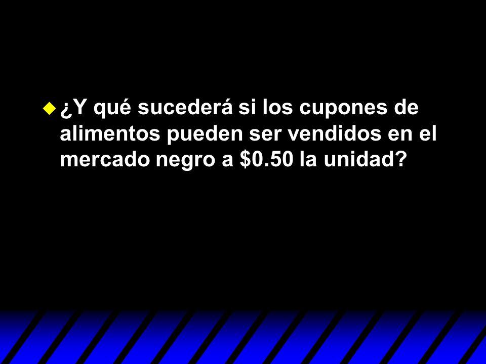 u ¿Y qué sucederá si los cupones de alimentos pueden ser vendidos en el mercado negro a $0.50 la unidad?