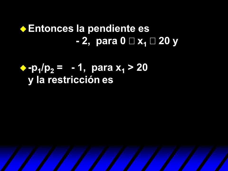 Entonces la pendiente es - 2, para 0 x 1 20 y u -p 1 /p 2 = - 1, para x 1 > 20 y la restricción es