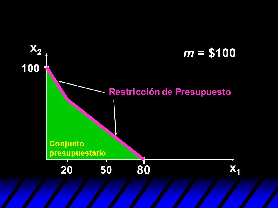m = $100 50 100 20 80 x2x2 x1x1 Conjunto presupuestario Restricción de Presupuesto