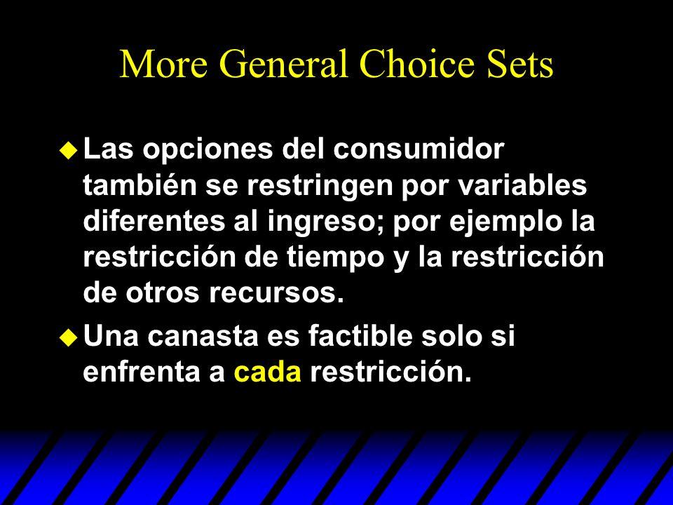 More General Choice Sets u Las opciones del consumidor también se restringen por variables diferentes al ingreso; por ejemplo la restricción de tiempo