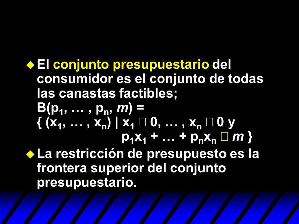 El conjunto presupuestario del consumidor es el conjunto de todas las canastas factibles; B(p 1, …, p n, m) = { (x 1, …, x n ) | x 1 0, …, x n 0 y p 1