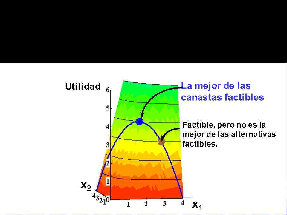 x1x1 x2x2 Utilidad La mejor de las canastas factibles Factible, pero no es la mejor de las alternativas factibles.