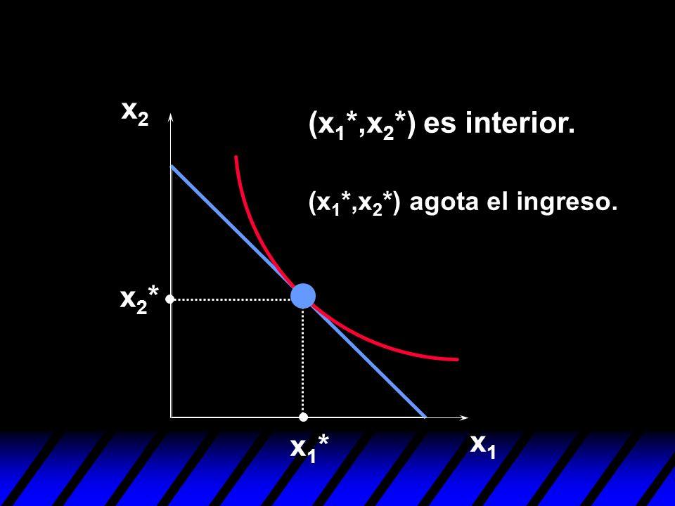 x1x1 x2x2 x1*x1* x2*x2* (x 1 *,x 2 *) es interior. (x 1 *,x 2 *) agota el ingreso.