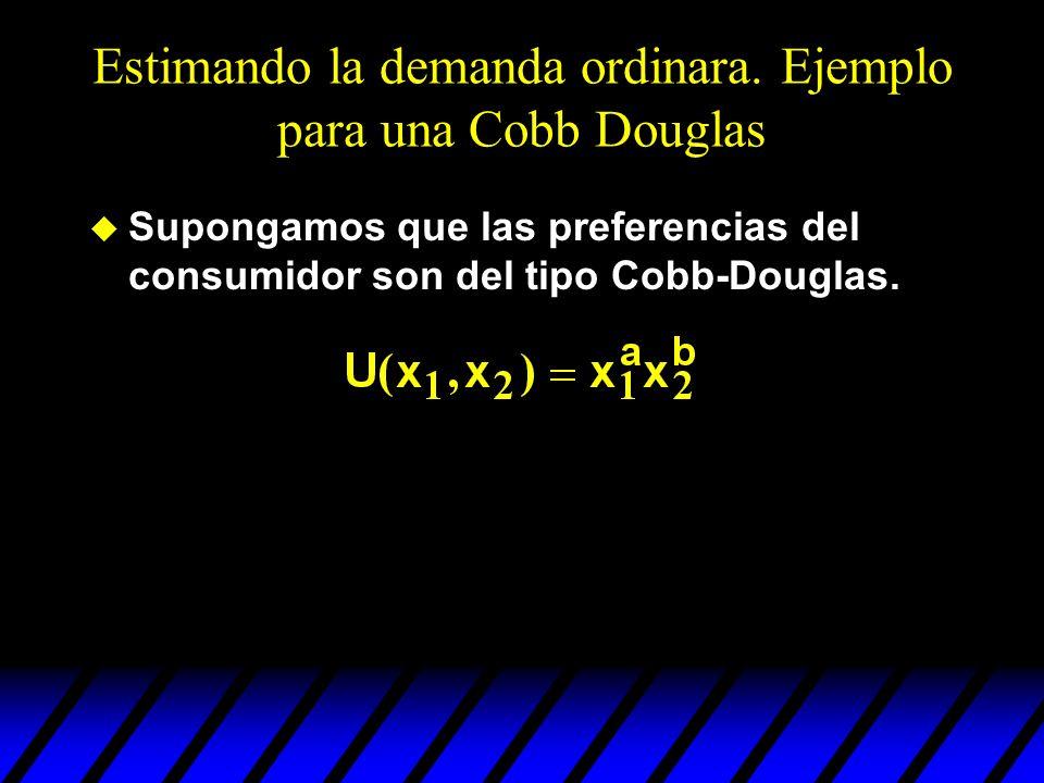 Estimando la demanda ordinara. Ejemplo para una Cobb Douglas u Supongamos que las preferencias del consumidor son del tipo Cobb-Douglas.