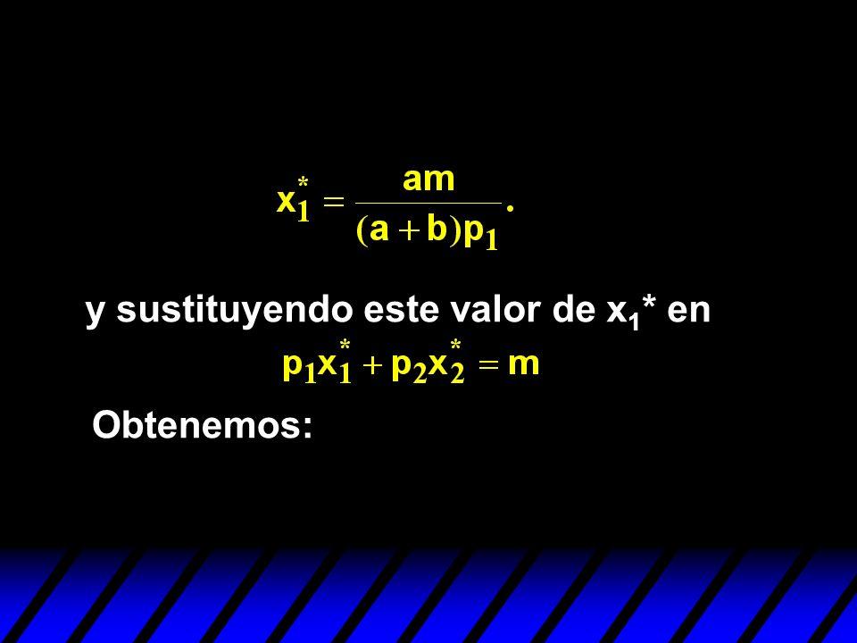 y sustituyendo este valor de x 1 * en Obtenemos: