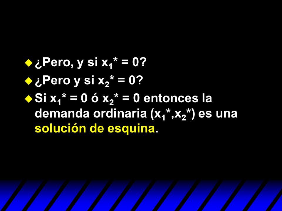 u ¿Pero, y si x 1 * = 0? u ¿Pero y si x 2 * = 0? u Si x 1 * = 0 ó x 2 * = 0 entonces la demanda ordinaria (x 1 *,x 2 *) es una solución de esquina.