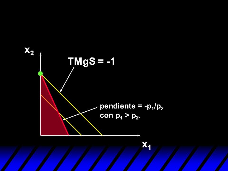 x1x1 x2x2 pendiente = -p 1 /p 2 con p 1 > p 2.
