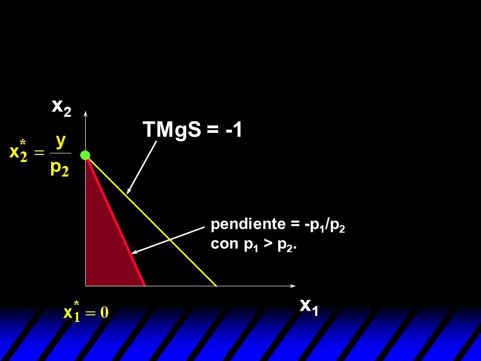 x1x1 x2x2 TMgS = -1 pendiente = -p 1 /p 2 con p 1 > p 2.
