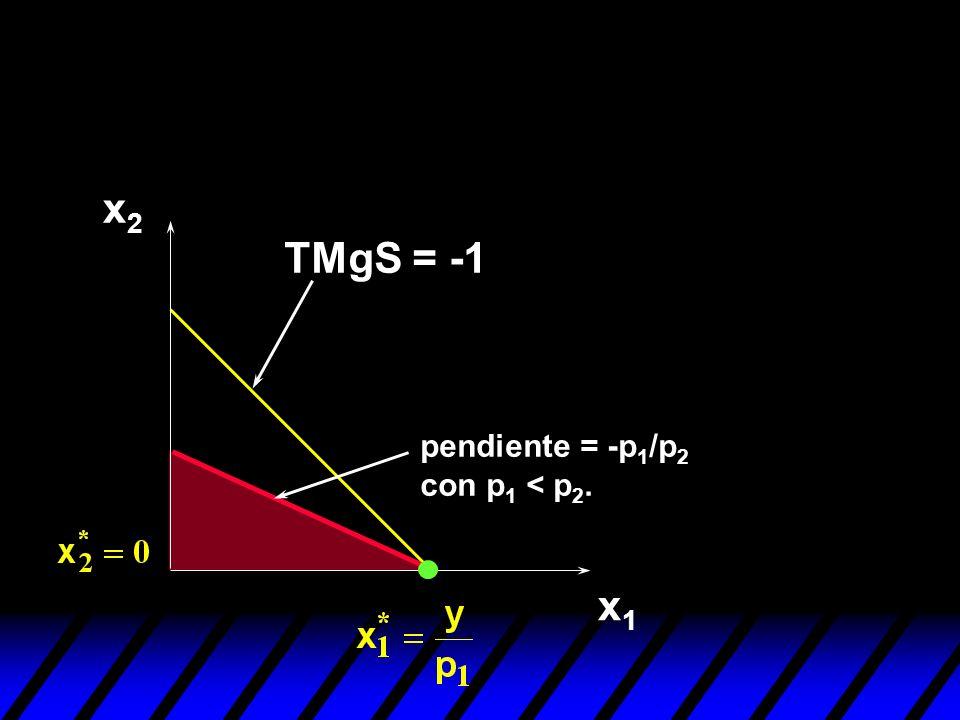 x1x1 x2x2 pendiente = -p 1 /p 2 con p 1 < p 2. TMgS = -1