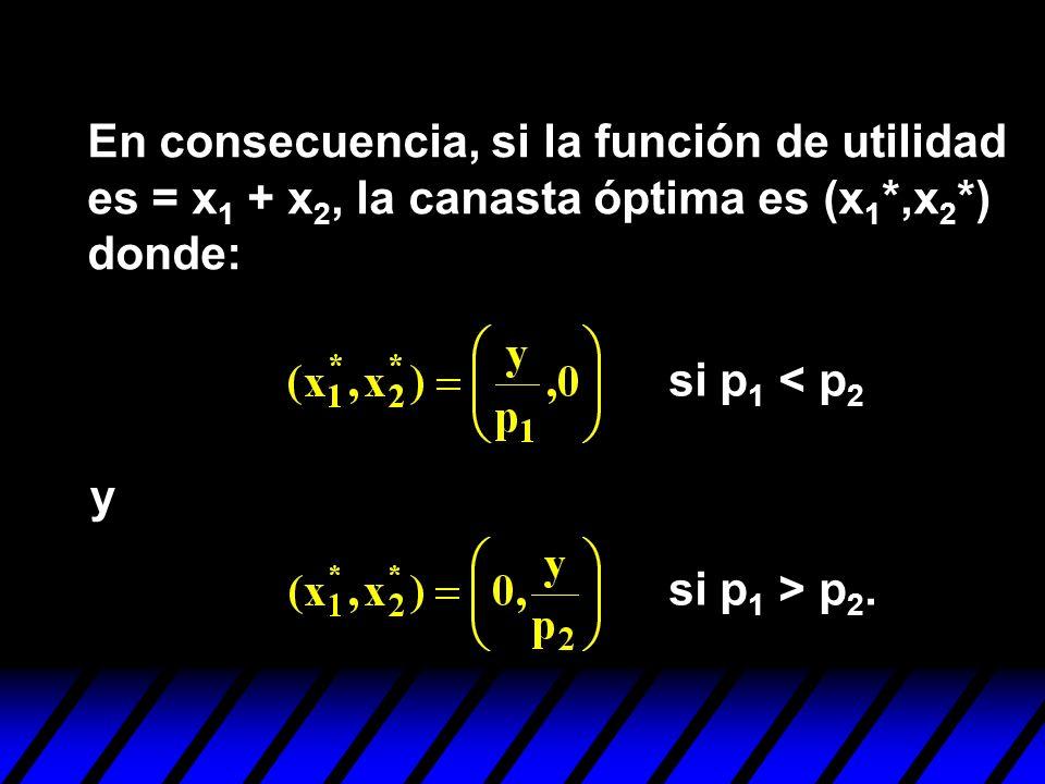 En consecuencia, si la función de utilidad es = x 1 + x 2, la canasta óptima es (x 1 *,x 2 *) donde: y si p 1 < p 2 si p 1 > p 2.