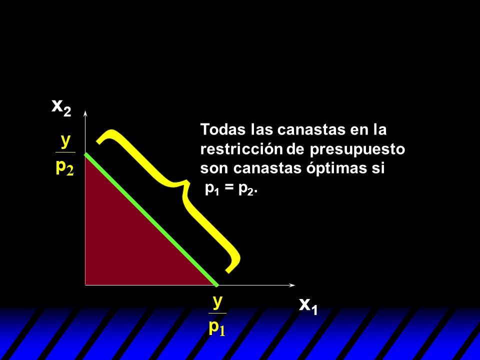 x1x1 x2x2 Todas las canastas en la restricción de presupuesto son canastas óptimas si p 1 = p 2.