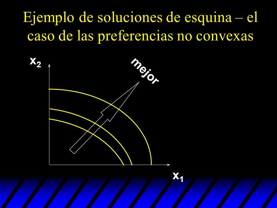 Ejemplo de soluciones de esquina – el caso de las preferencias no convexas x1x1 x2x2 mejor