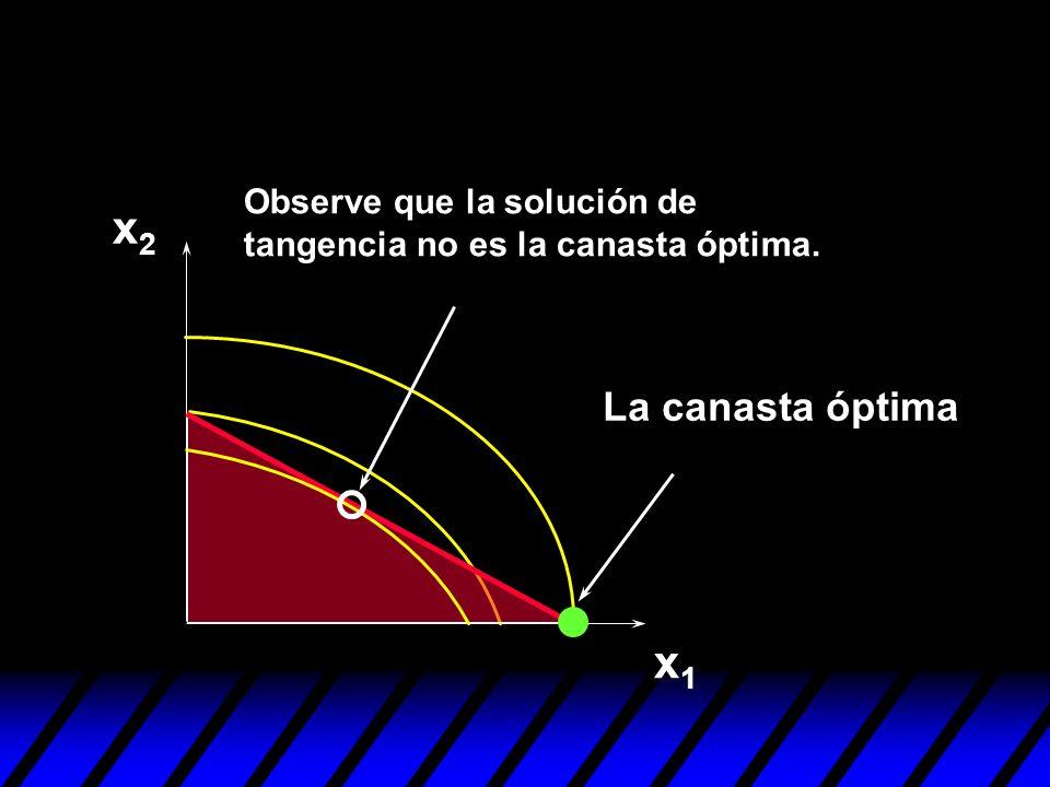 x1x1 x2x2 Observe que la solución de tangencia no es la canasta óptima. La canasta óptima