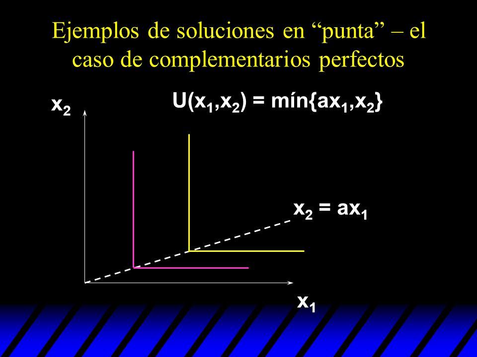 Ejemplos de soluciones en punta – el caso de complementarios perfectos x1x1 x2x2 U(x 1,x 2 ) = mín{ax 1,x 2 } x 2 = ax 1