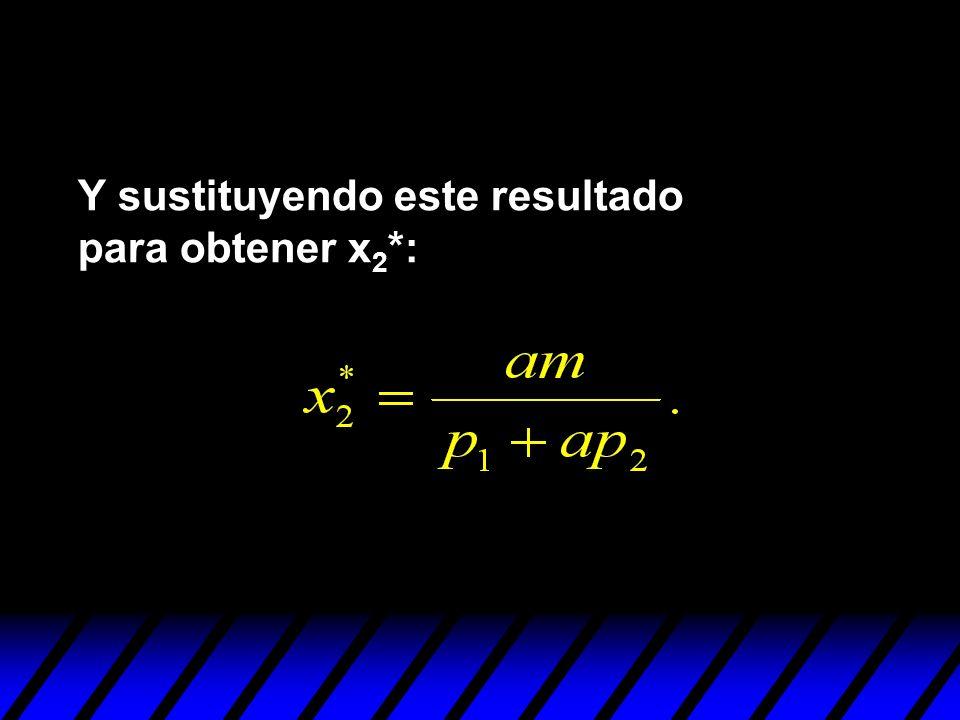Y sustituyendo este resultado para obtener x 2 *: