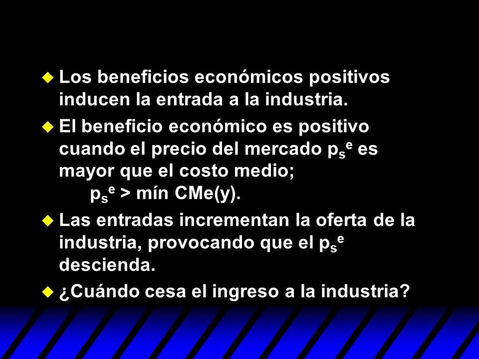 u Los beneficios económicos positivos inducen la entrada a la industria. u El beneficio económico es positivo cuando el precio del mercado p s e es ma