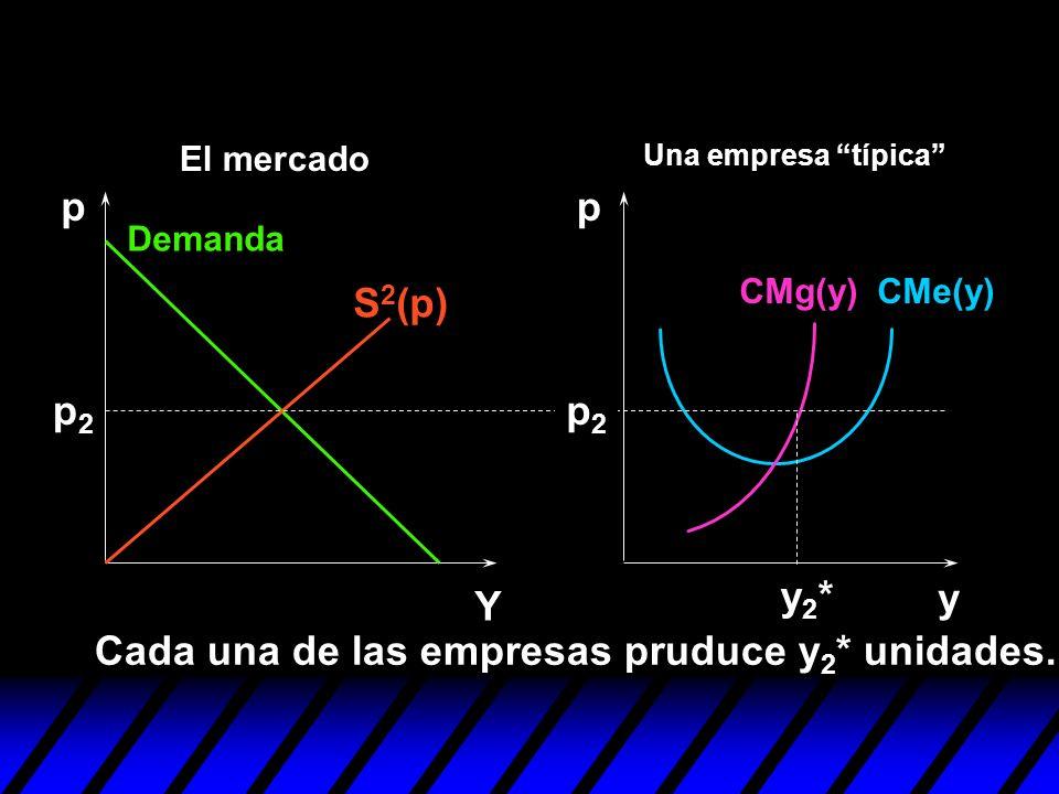 y pp Y p2p2 p2p2 y2*y2* Cada una de las empresas pruduce y 2 * unidades. S 2 (p) Demanda CMe(y)CMg(y) Una empresa típica El mercado