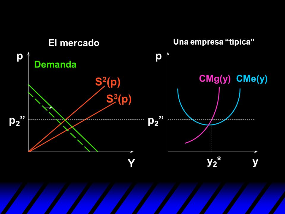 S 2 (p) S 3 (p) y pp Y p 2 y2*y2* Demanda CMe(y)CMg(y) Una empresa típica El mercado