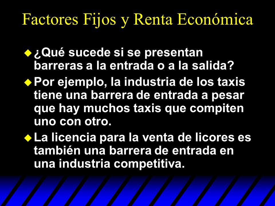 Factores Fijos y Renta Económica u ¿Qué sucede si se presentan barreras a la entrada o a la salida? u Por ejemplo, la industria de los taxis tiene una