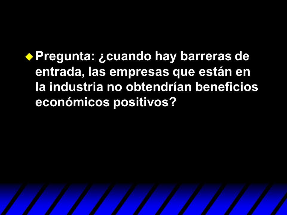 u Pregunta: ¿cuando hay barreras de entrada, las empresas que están en la industria no obtendrían beneficios económicos positivos?
