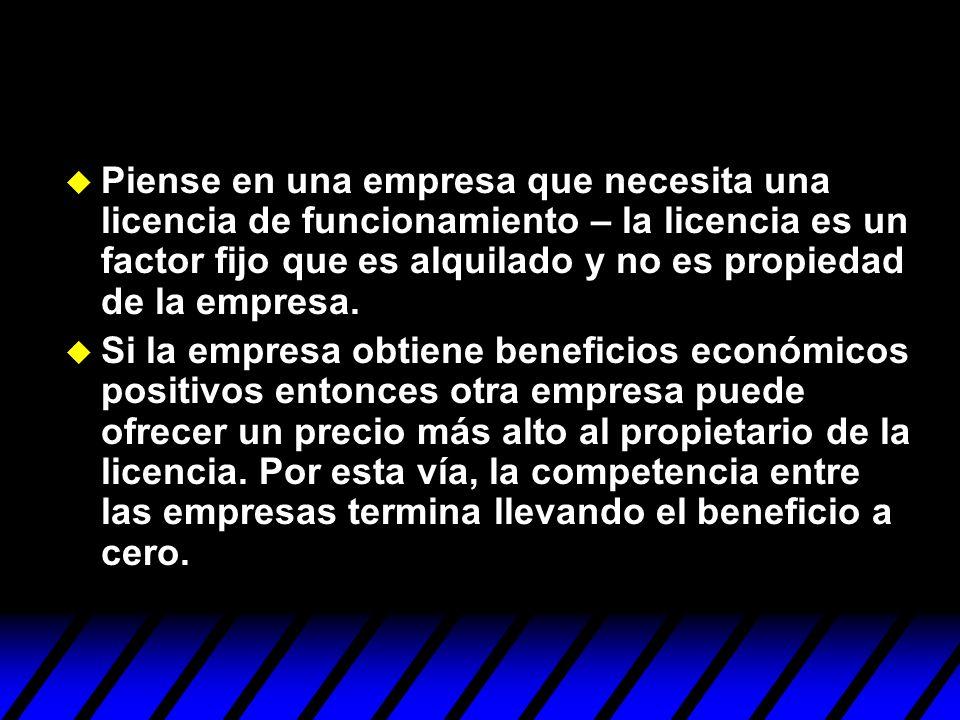 u Piense en una empresa que necesita una licencia de funcionamiento – la licencia es un factor fijo que es alquilado y no es propiedad de la empresa.