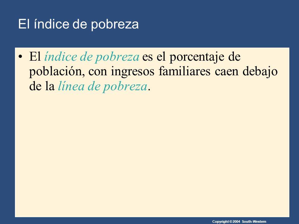 Copyright © 2004 South-Western El índice de pobreza El índice de pobreza es el porcentaje de población, con ingresos familiares caen debajo de la línea de pobreza.