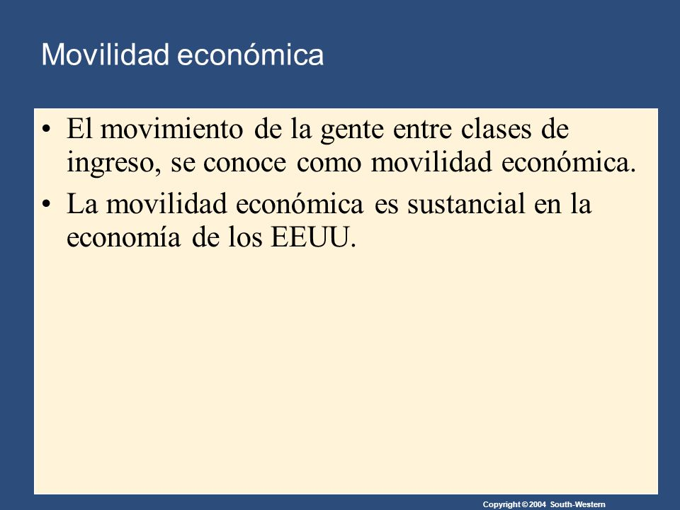 Copyright © 2004 South-Western Movilidad económica El movimiento de la gente entre clases de ingreso, se conoce como movilidad económica.