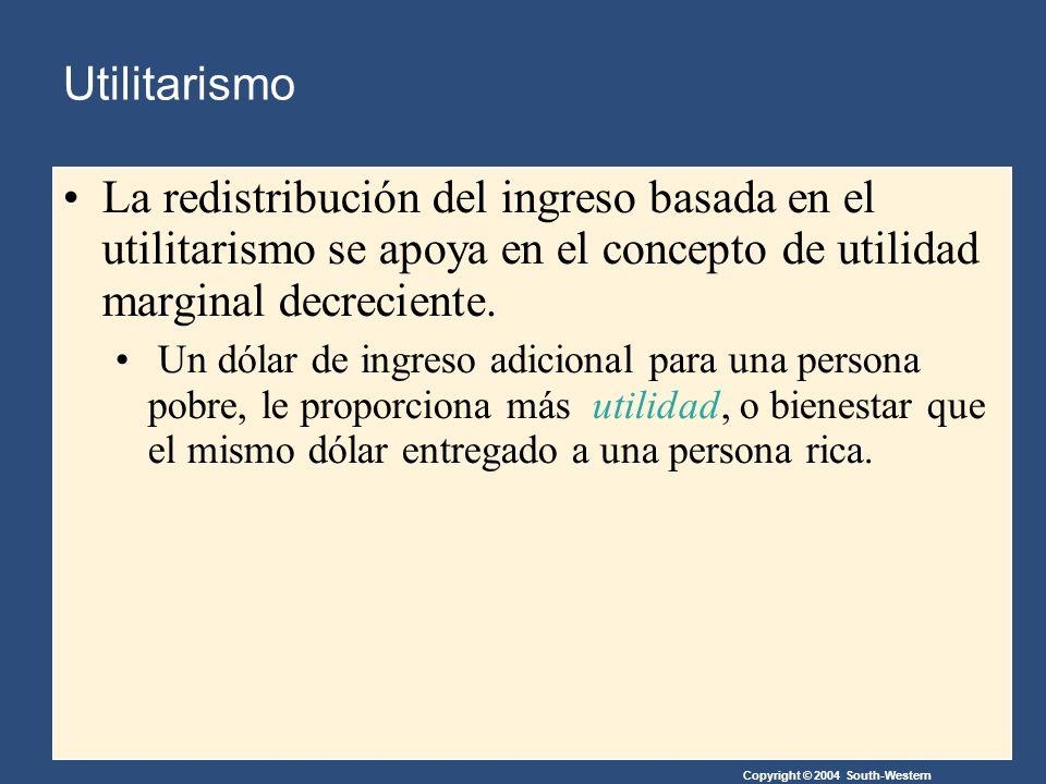 Copyright © 2004 South-Western La redistribución del ingreso basada en el utilitarismo se apoya en el concepto de utilidad marginal decreciente.