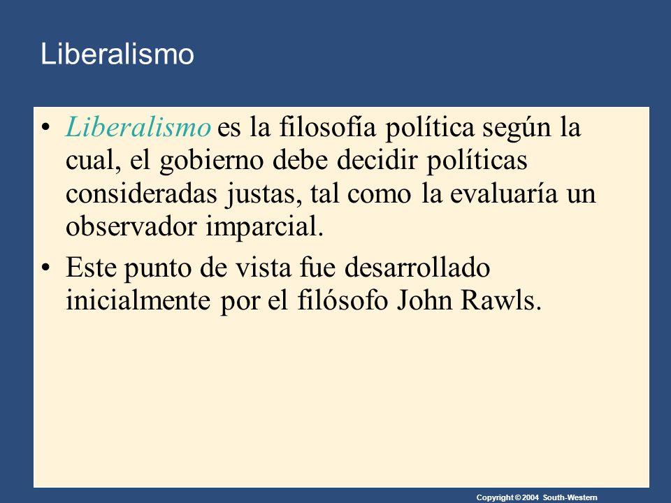 Copyright © 2004 South-Western Liberalismo Liberalismo es la filosofía política según la cual, el gobierno debe decidir políticas consideradas justas, tal como la evaluaría un observador imparcial.