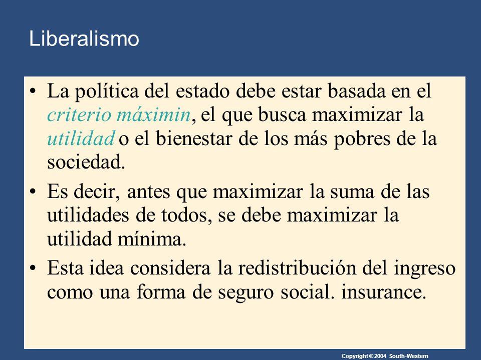Copyright © 2004 South-Western Liberalismo La política del estado debe estar basada en el criterio máximin, el que busca maximizar la utilidad o el bienestar de los más pobres de la sociedad.