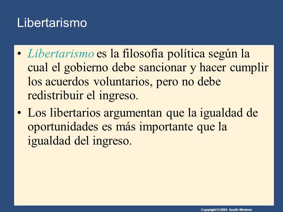 Copyright © 2004 South-Western Libertarismo Libertarismo es la filosofía política según la cual el gobierno debe sancionar y hacer cumplir los acuerdos voluntarios, pero no debe redistribuir el ingreso.