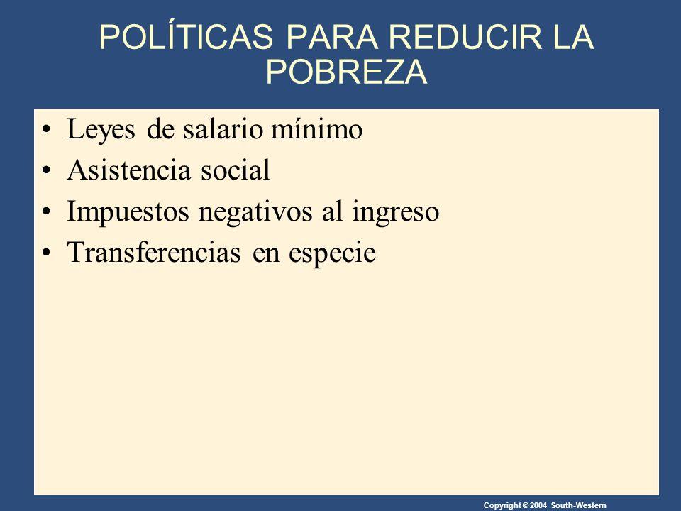 Copyright © 2004 South-Western POLÍTICAS PARA REDUCIR LA POBREZA Leyes de salario mínimo Asistencia social Impuestos negativos al ingreso Transferencias en especie