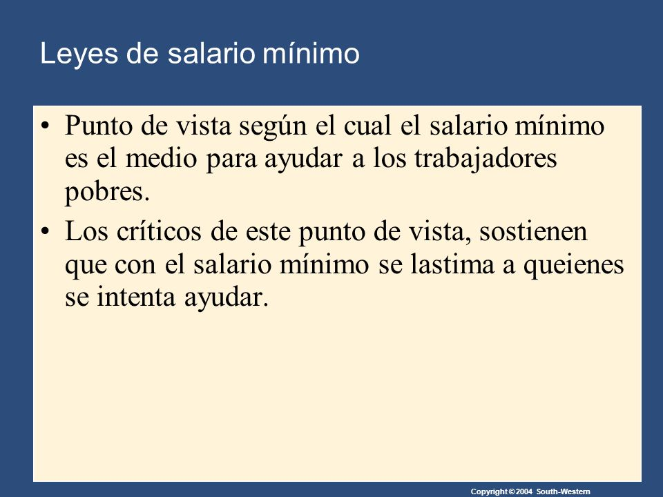 Copyright © 2004 South-Western Leyes de salario mínimo Punto de vista según el cual el salario mínimo es el medio para ayudar a los trabajadores pobres.