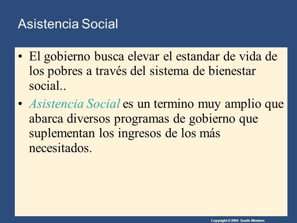 Copyright © 2004 South-Western Asistencia Social El gobierno busca elevar el estandar de vida de los pobres a través del sistema de bienestar social..