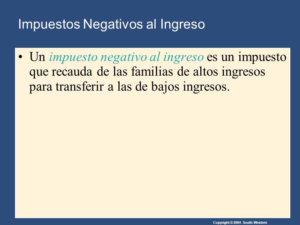Copyright © 2004 South-Western Impuestos Negativos al Ingreso Un impuesto negativo al ingreso es un impuesto que recauda de las familias de altos ingresos para transferir a las de bajos ingresos.
