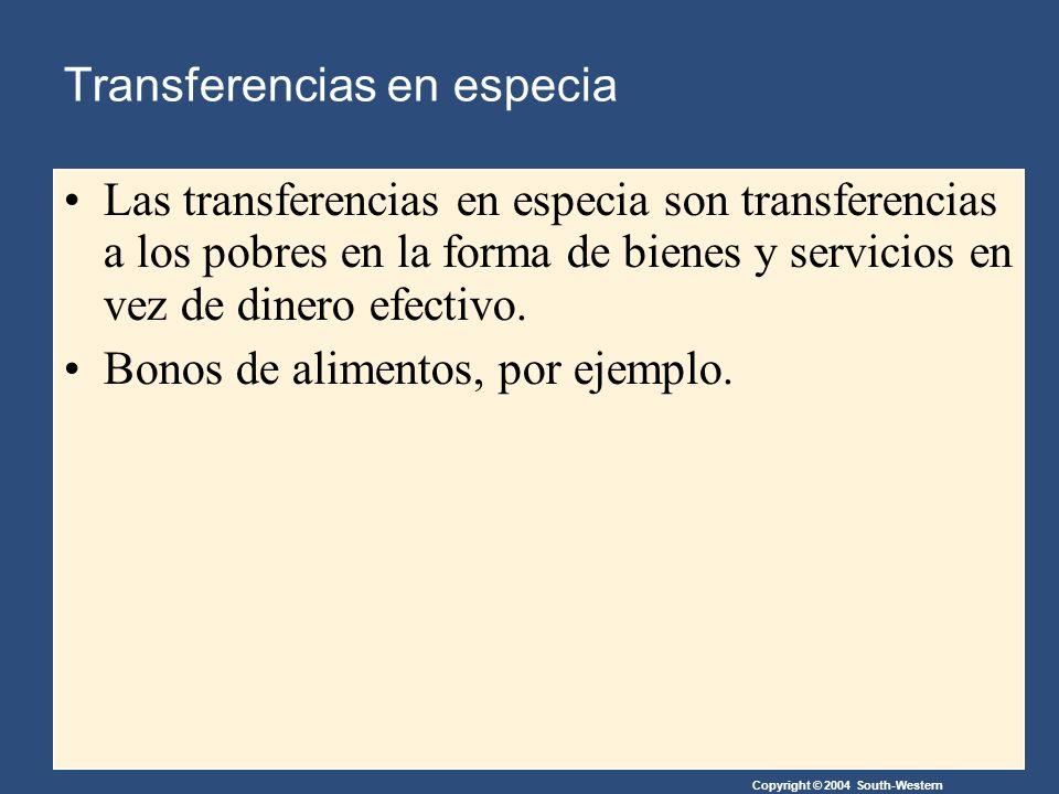 Copyright © 2004 South-Western Transferencias en especia Las transferencias en especia son transferencias a los pobres en la forma de bienes y servicios en vez de dinero efectivo.