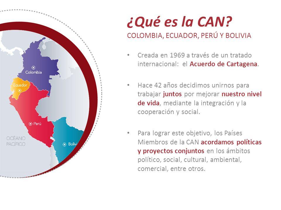 ¿Qué es la CAN? COLOMBIA, ECUADOR, PERÚ Y BOLIVIA Creada en 1969 a través de un tratado internacional: el Acuerdo de Cartagena. Hace 42 años decidimos