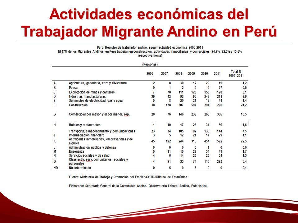 Actividades económicas del Trabajador Migrante Andino en Perú