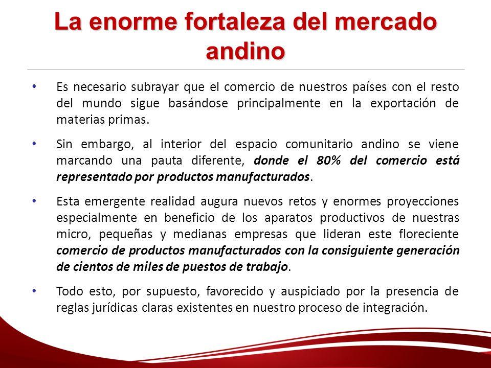 La enorme fortaleza del mercado andino Es necesario subrayar que el comercio de nuestros países con el resto del mundo sigue basándose principalmente