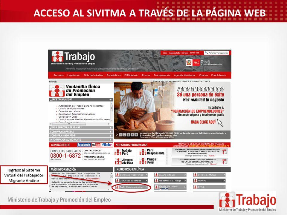 ACCESO AL SIVITMA A TRAVÉS DE LA PÁGINA WEB Ingreso al Sistema Virtual del Trabajador Migrante Andino