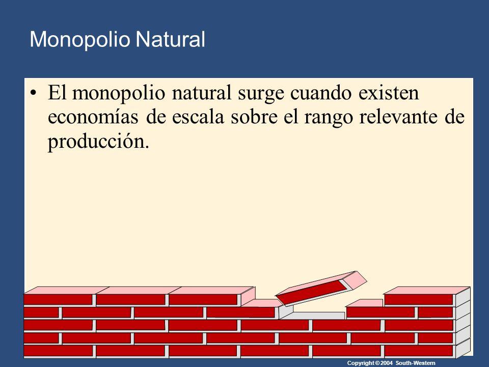 Copyright © 2004 South-Western El monopolio natural surge cuando existen economías de escala sobre el rango relevante de producción.